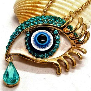 Jewelry - Signed Exquisite 3D Art Deco Crying Eye Necklace